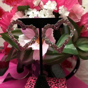 Betsey Johnson Pink Stone Heart Drop Earrings